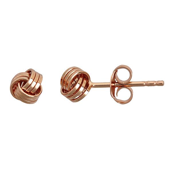14 Karat Rose Gold Over Sterling Silver Love Knot Stud Earrings