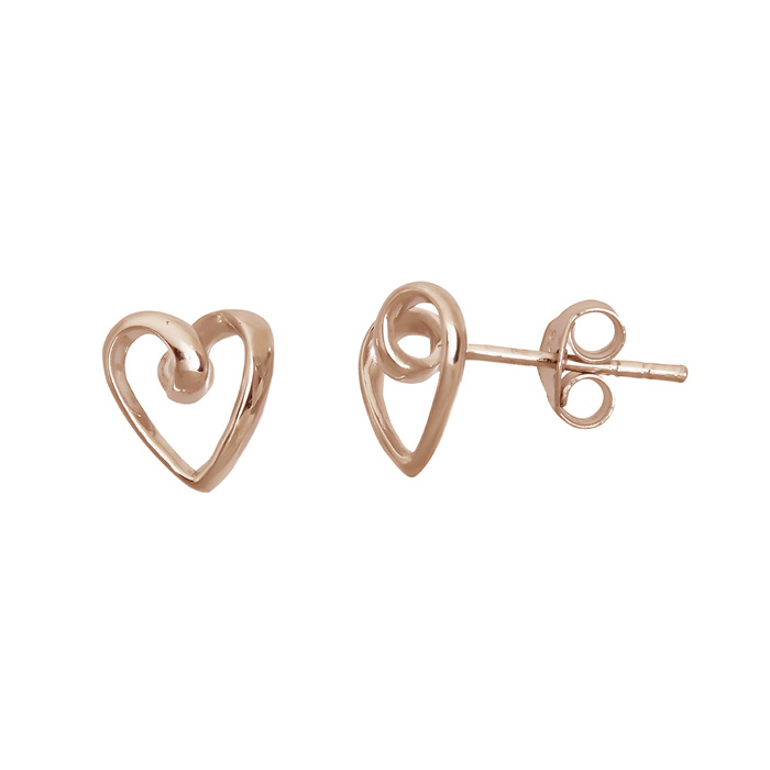 14 Karat Rose Gold Over Sterling Silver Open Heart Stud Earrings
