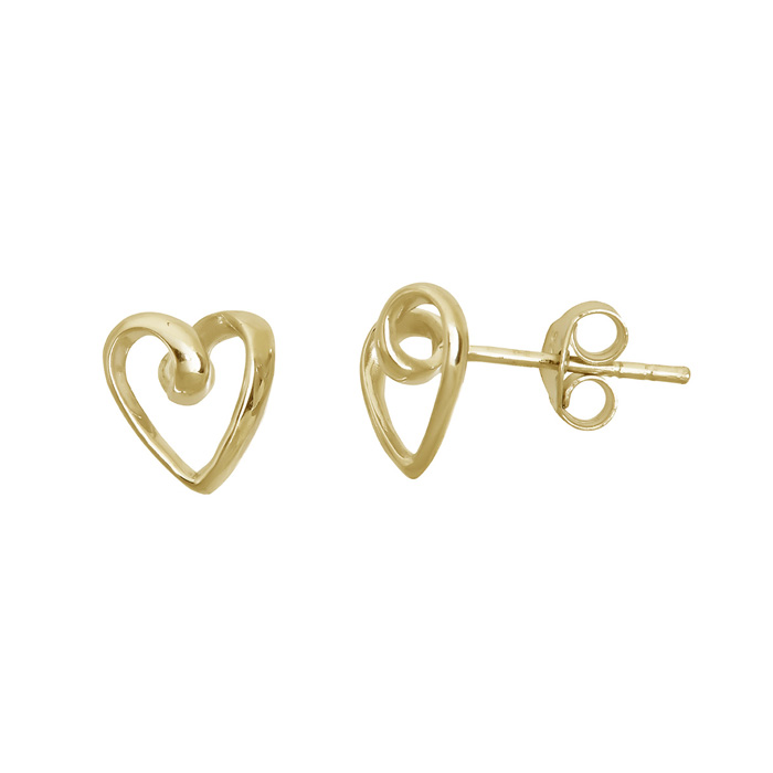 14 Karat Yellow Gold Over Sterling Silver Open Heart Stud Earrings