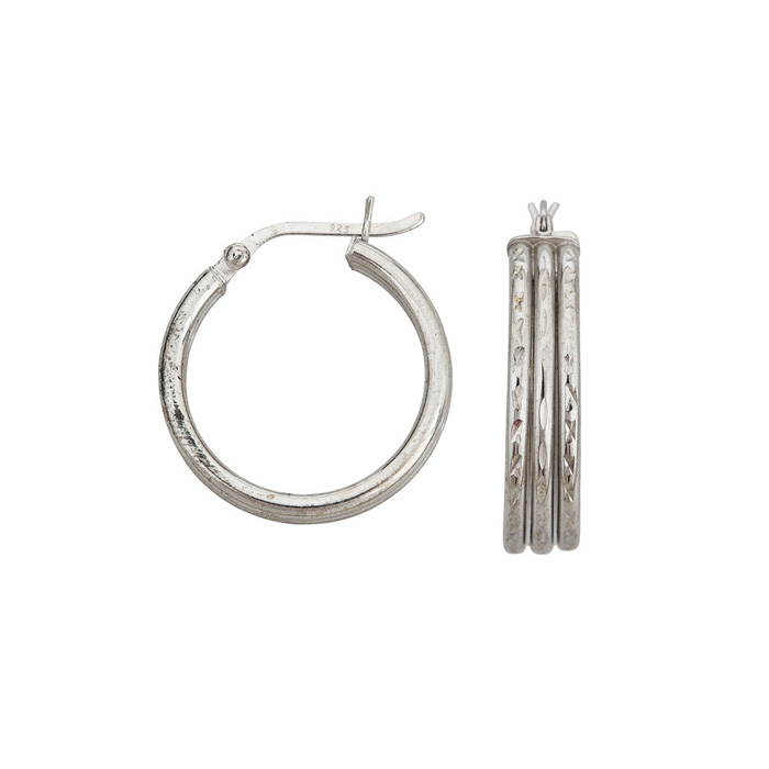 Sterling Silver Triple Round Hoop Earrings