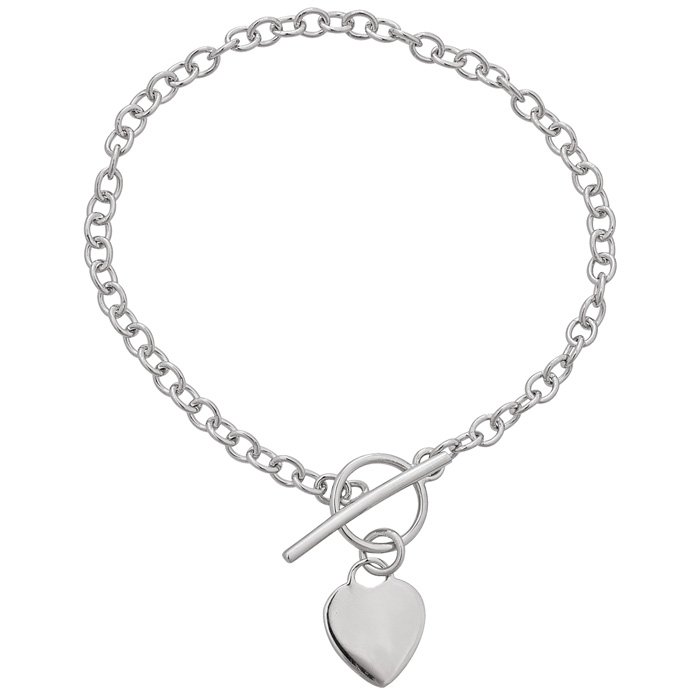 Sterling Silver Toggle Bracelet with Heart Charm