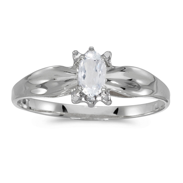 10k White Gold Oval White Topaz And Diamond Ring