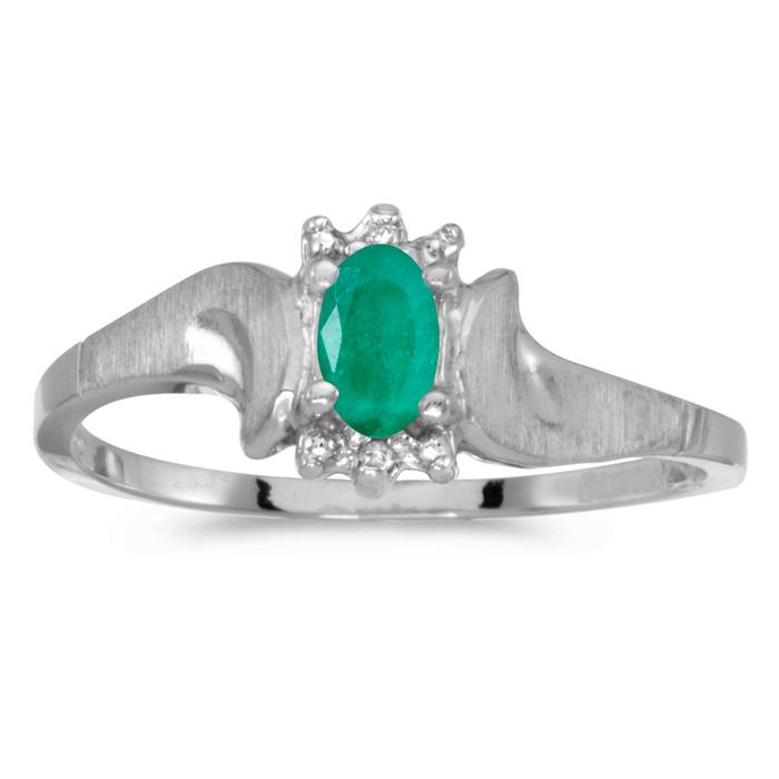 10k White Gold Oval Emerald And Diamond Satin Finish Ring