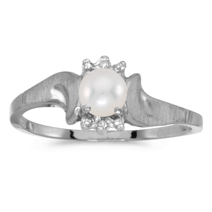 10k White Gold Pearl And Diamond Satin Finish Ring