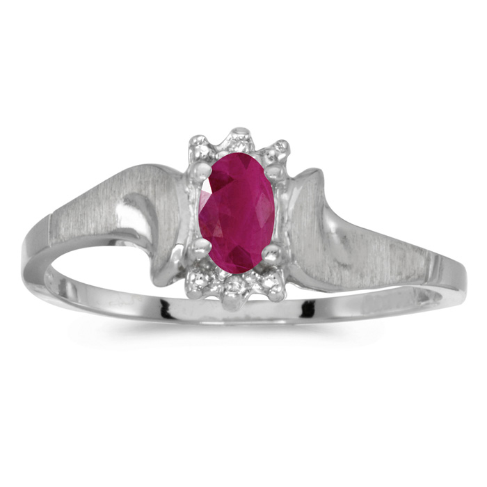 10k White Gold Oval Ruby And Diamond Satin Finish Ring thumbnail