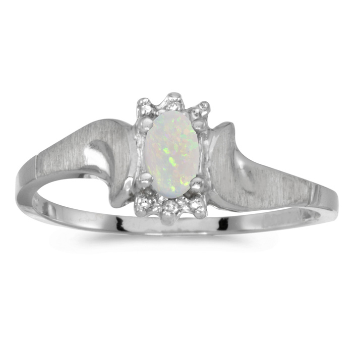 10k White Gold Oval Opal And Diamond Satin Finish Ring