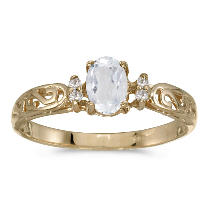 14k Yellow Gold Oval White Topaz And Diamond Filagree Ring