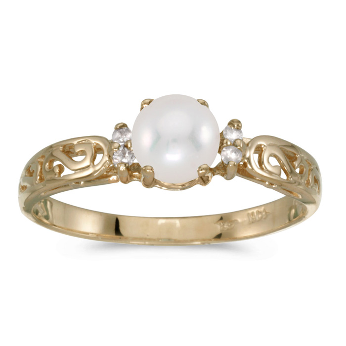 14k Yellow Gold Pearl And Diamond Filagree Ring