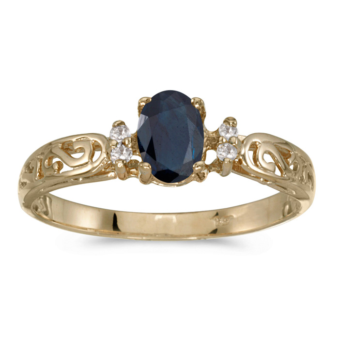 14k Yellow Gold Oval Sapphire And Diamond Filagree Ring