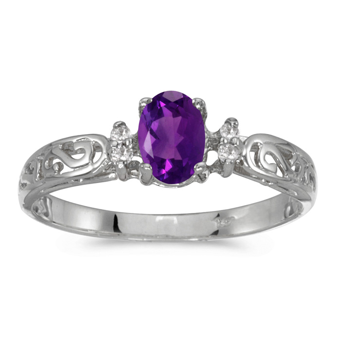 14k White Gold Oval Amethyst And Diamond Filagree Ring