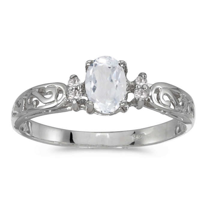 14k White Gold Oval White Topaz And Diamond Filagree Ring