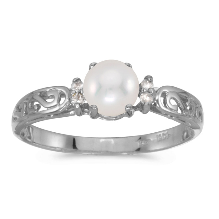 14k White Gold Pearl And Diamond Filagree Ring