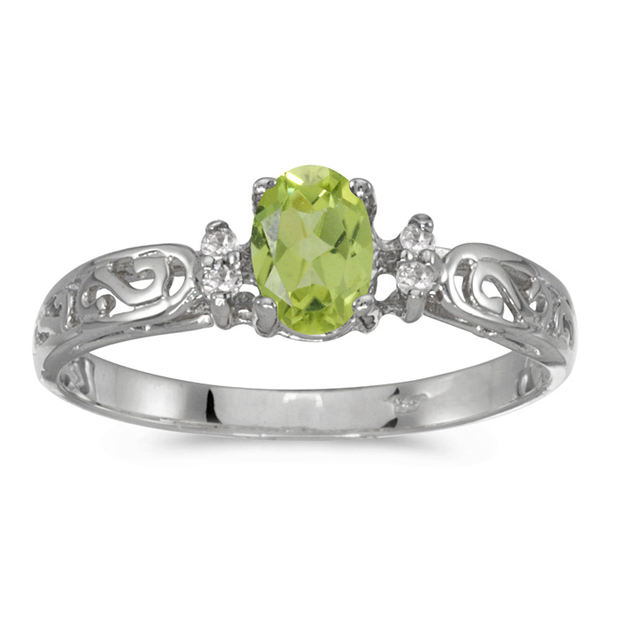 14k White Gold Oval Peridot And Diamond Filagree Ring