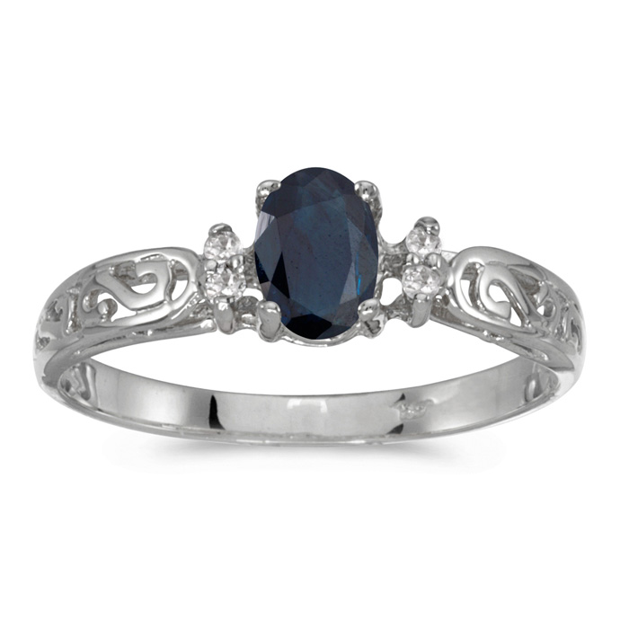 14k White Gold Oval Sapphire And Diamond Filagree Ring