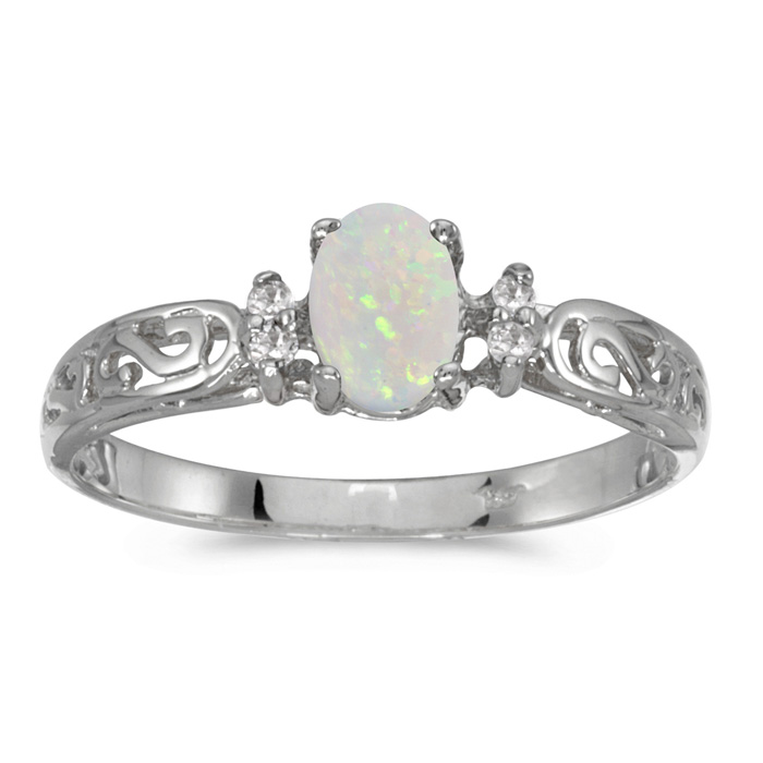 14k White Gold Oval Opal And Diamond Filagree Ring