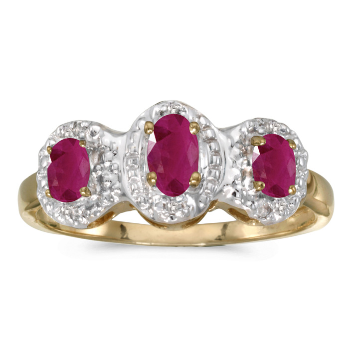 10k Yellow Gold Oval Ruby And Diamond Three Stone Ring