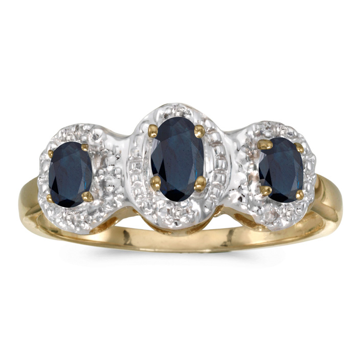 10k Yellow Gold Oval Sapphire And Diamond Three Stone Ring