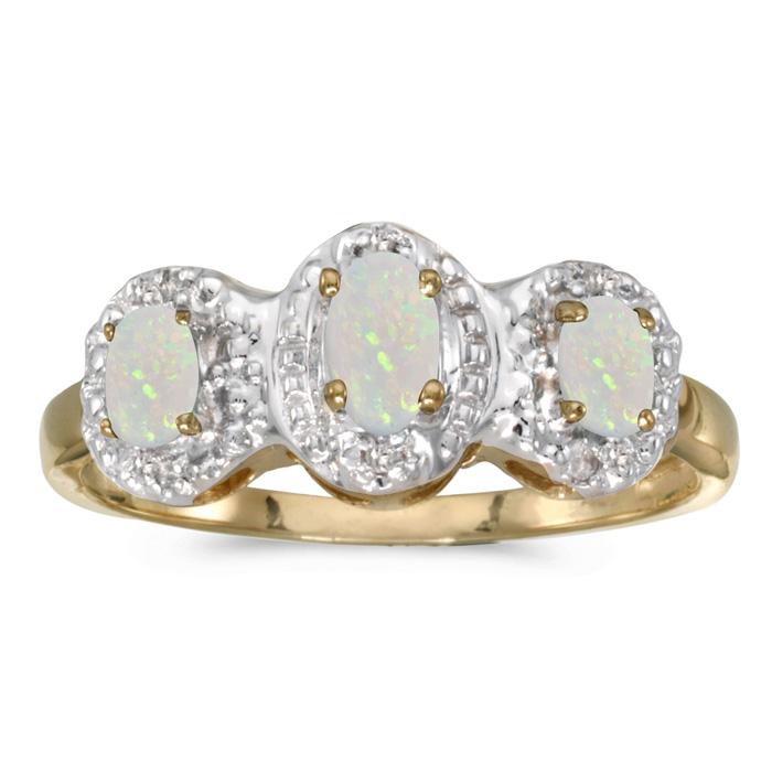 10k Yellow Gold Oval Opal And Diamond Three Stone Ring