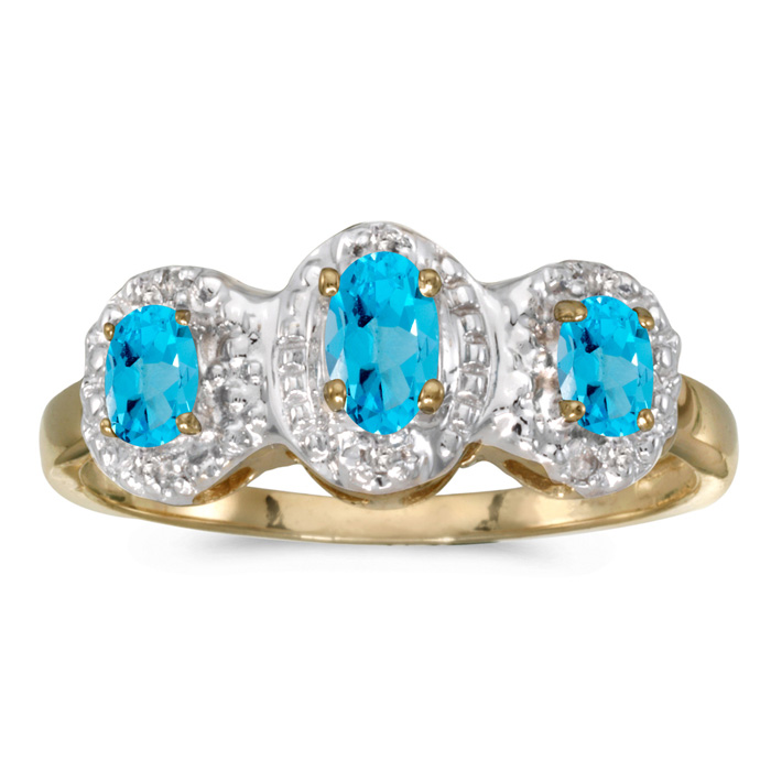10k Yellow Gold Oval Blue Topaz And Diamond Three Stone Ring