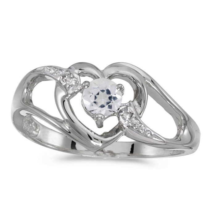 10k White Gold Round White Topaz And Diamond Heart Ring
