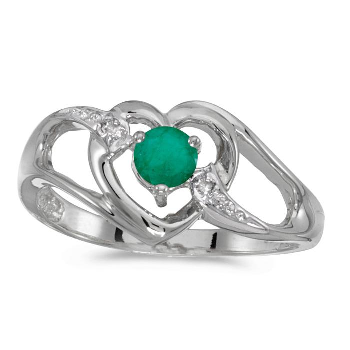 10k White Gold Round Emerald And Diamond Heart Ring