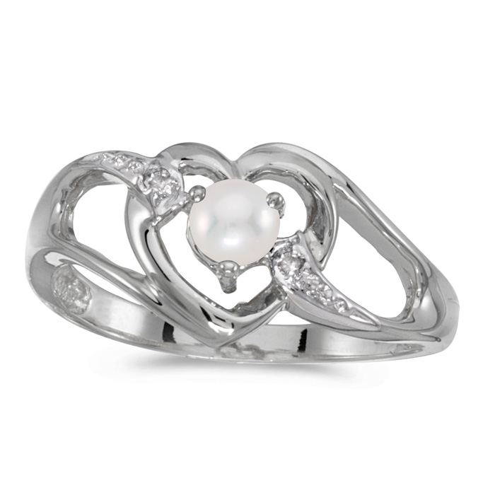 10k White Gold Pearl And Diamond Heart Ring