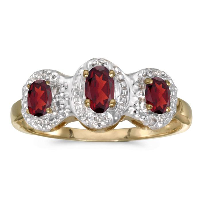 14K Yellow Gold Oval Garnet And Diamond Three Stone Ring