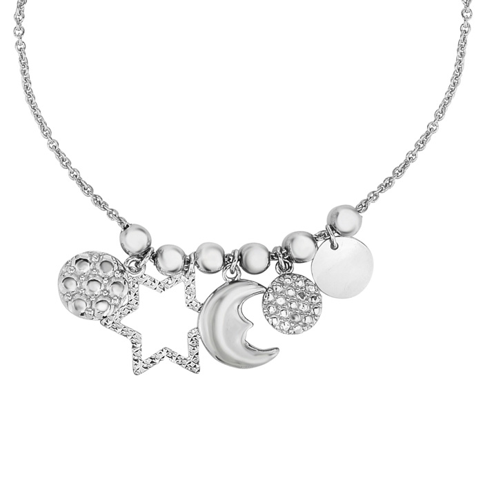 Sterling Silver and Cubic Zirconia Moon and Stars Charm Bracelet with Adjustable Bead