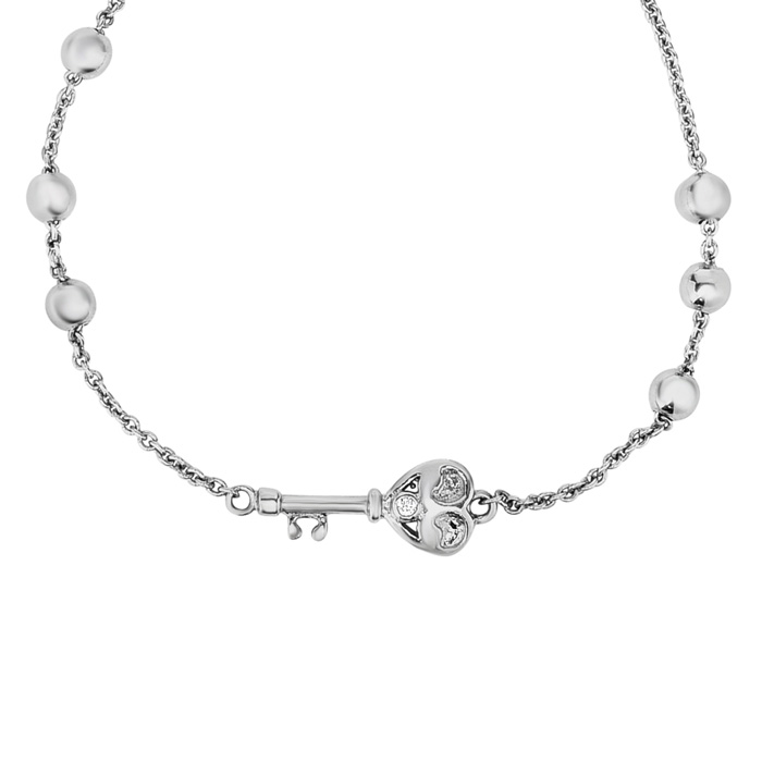 Sterling Silver Adjustable Bead Bracelet with Heart Key and Bead Embellishments