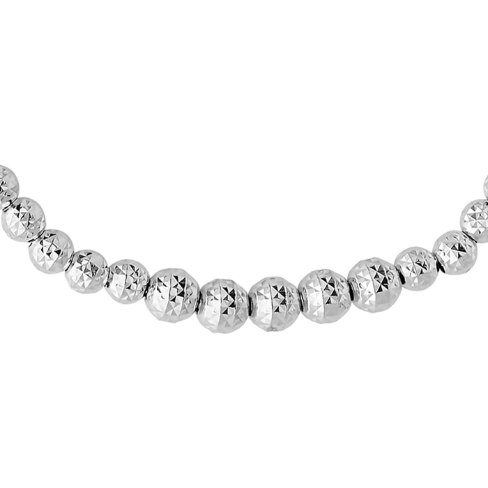 Sterling Silver Adjustable Bead Bracelet With Acorn Shaped Sterling Beads