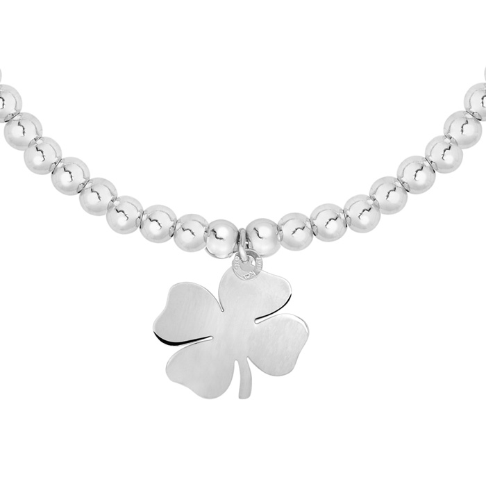 Sterling Silver Adjustable Bead Bracelet with Sterling Silver Beads and Shamrock Charm