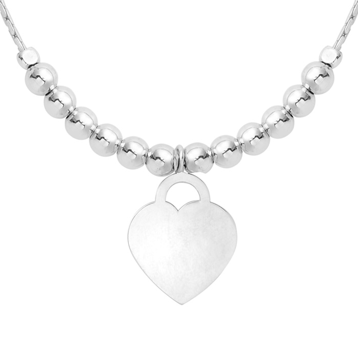 Sterling Silver Adjustable Bead Bracelet with Sterling Silver Beads and Heart Charm