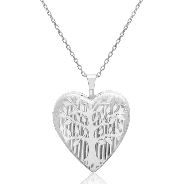 Sterling Silver Tree of Life Heart Locket Necklace, 18 Inches