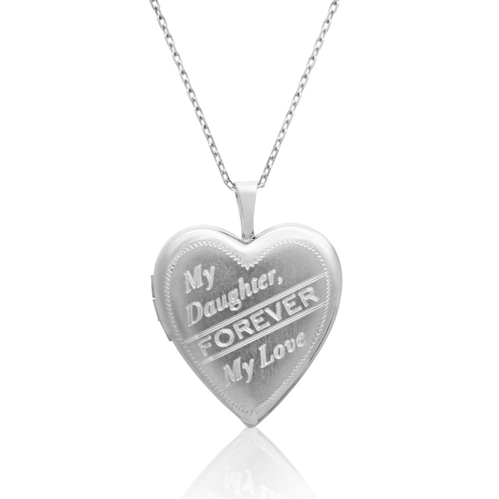Sterling Silver My Daughter, Forever My Love Heart Locket Necklace, 18 Inches