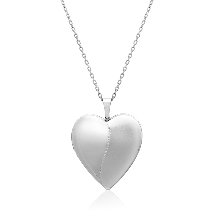 Sterling Silver Medium Heart Locket Necklace, 18 Inches