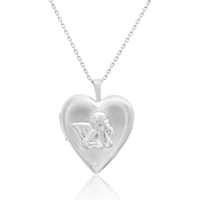 Sterling Silver Angel Heart Locket Necklace, 18 Inches