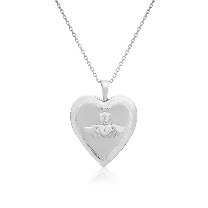 Sterling Silver Claddagh Heart Locket Necklace, 18 Inches