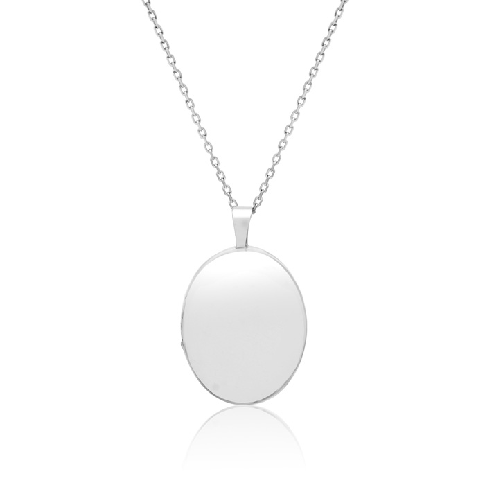 Sterling Silver Elegant Oval Locket Necklace, 18 Inches