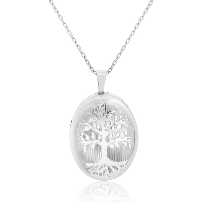 Sterling Silver Tree of Life Oval Locket Necklace, 18 Inches