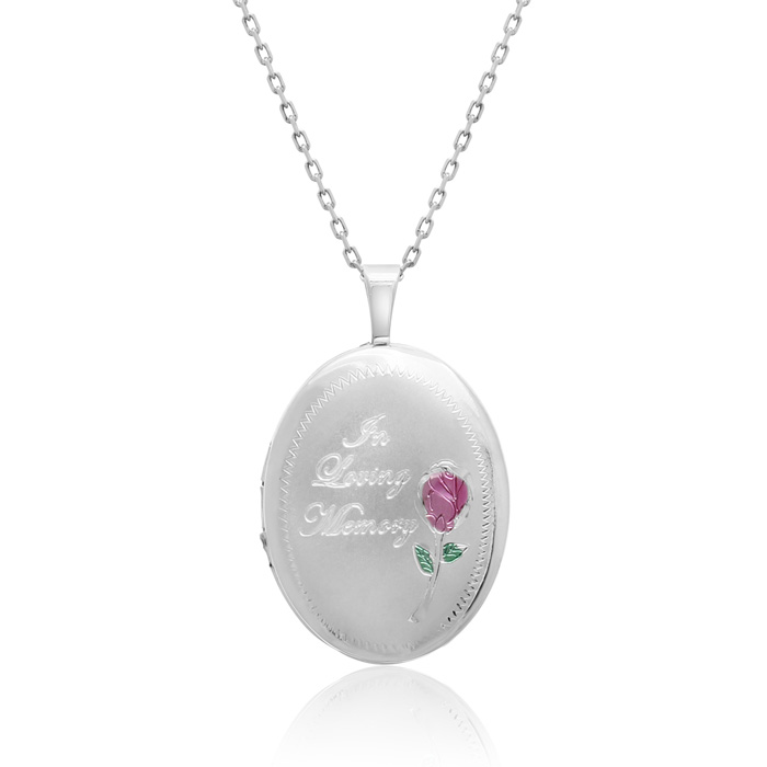 Sterling Silver In Loving Memory Oval Locket Necklace, 18 Inches