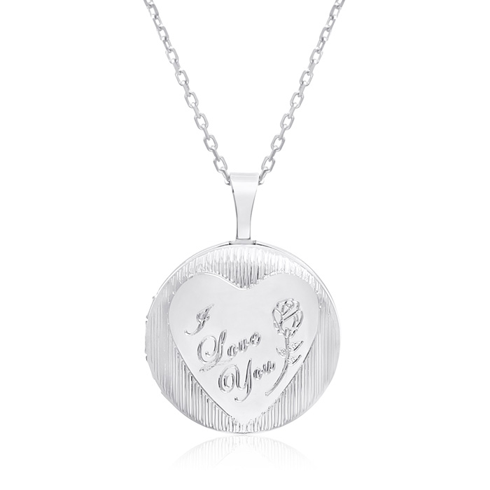 Sterling Silver I Love You Round Locket Necklace, 18 Inches