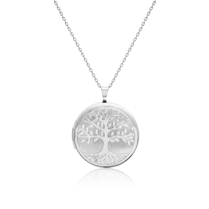 Sterling Silver Tree of Life Round Locket Necklace, 18 Inches