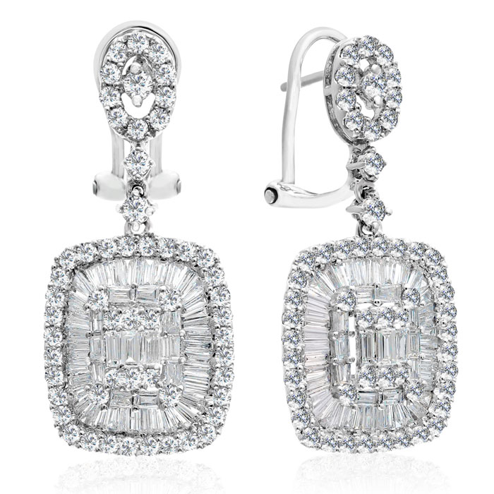 18 Karat White Gold 2.63 Carat Baguette and Round Diamond Dangle Earrings