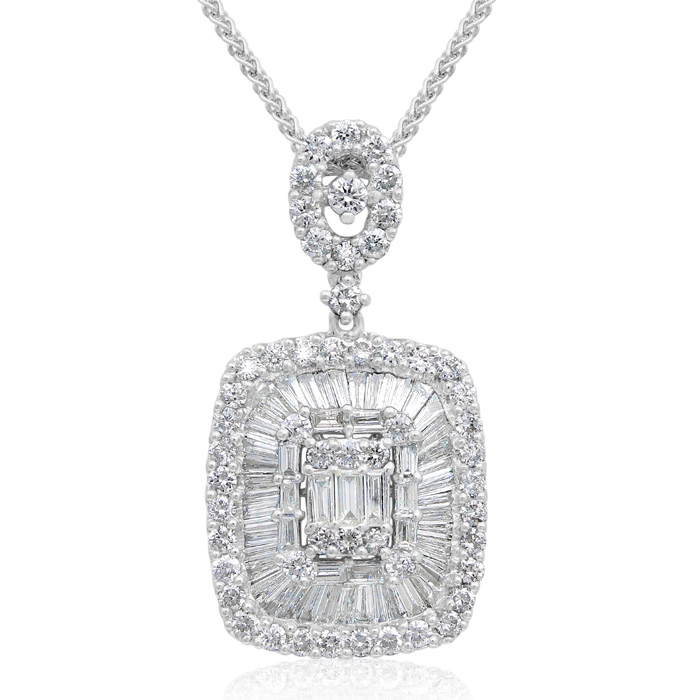 18 Karat White Gold 1.87 Carat Baguette and Round Diamond Pendant Necklace
