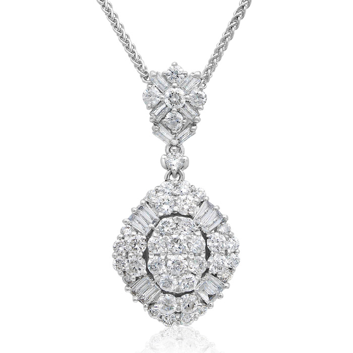 18 Karat White Gold 1 1/2 Carat Baguette and Round Diamond Pendant Necklace