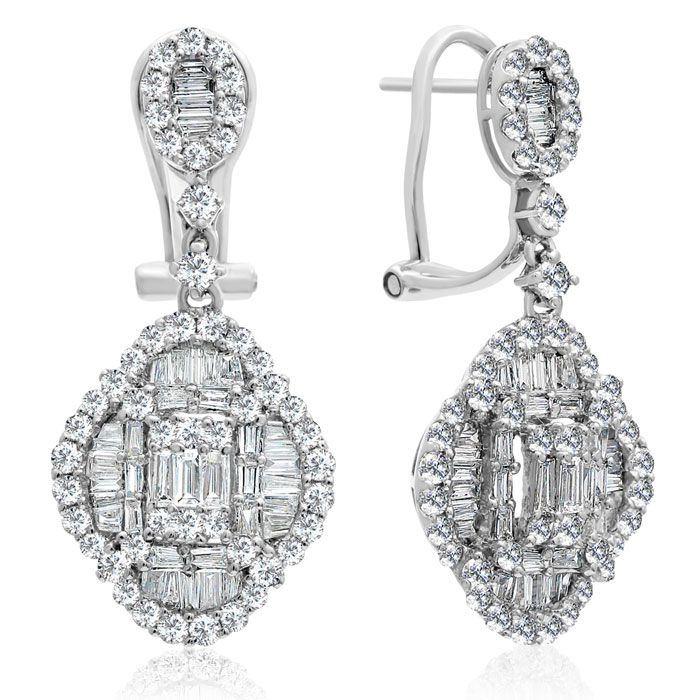 18 Karat White Gold 2.21 Carat Baguette and Round Diamond Dangle Earrings