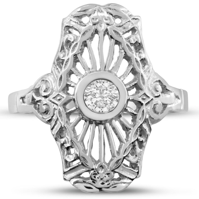 1/10ct Diamond Cathedral Ring in White Gold