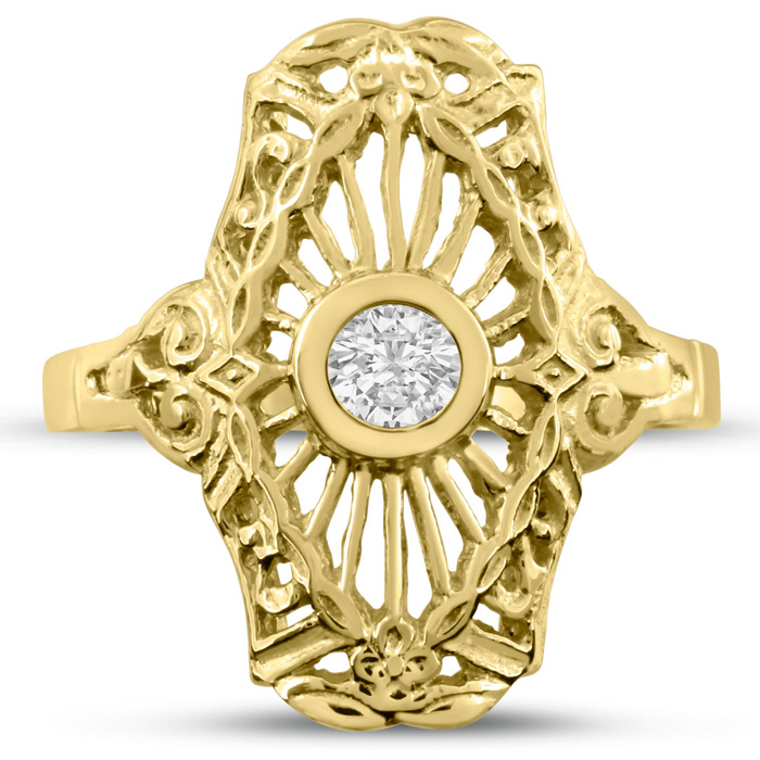 1/10ct Diamond Cathedral Ring in Yellow Gold