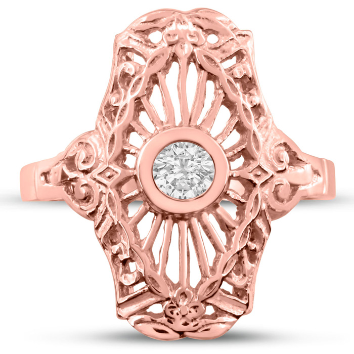 1/10ct Diamond Cathedral Ring in Rose Gold