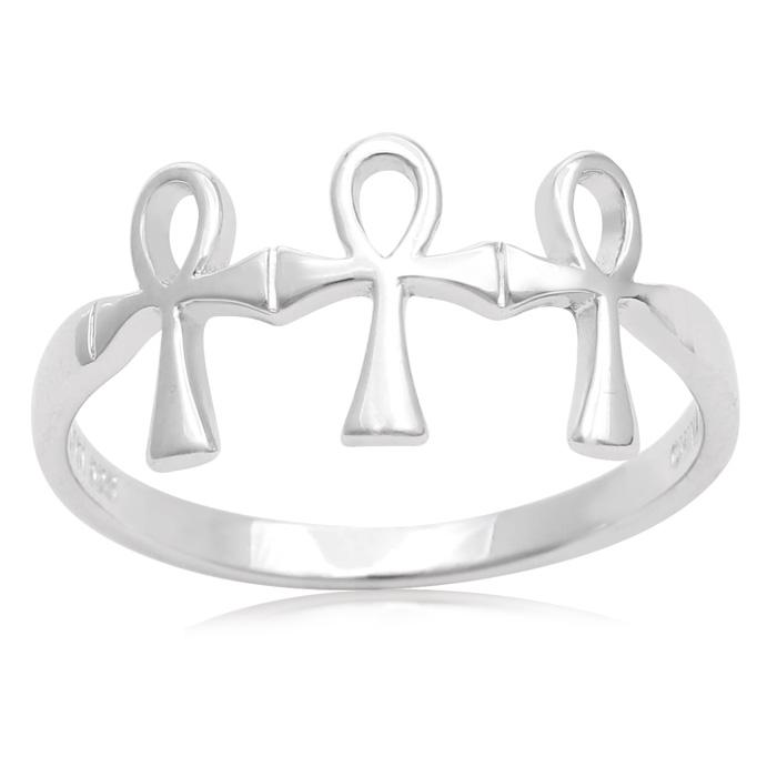 Sterling Silver Triple Cross Ring